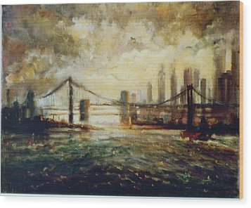 Wood Print featuring the painting Nyc Harbor by Walter Casaravilla