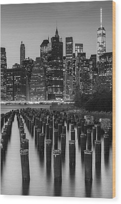 Wood Print featuring the photograph Nyc Skyline Bw by Laura Fasulo