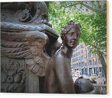 Nyc Library Angel Wood Print