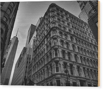 Nyc - Lower Manhattan 002 Bw Wood Print by Lance Vaughn