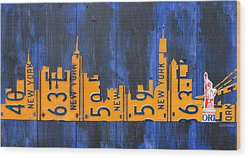 Nyc New York City Skyline With Lady Liberty And Freedom Tower Recycled License Plate Art Wood Print by Design Turnpike