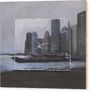 Nyc Pier 11 Layered Wood Print by Anita Burgermeister