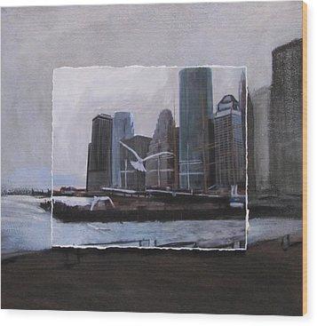 Nyc Pier 11 Layered Wood Print by Anita Burgermeister