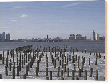 New York City Piers  Wood Print