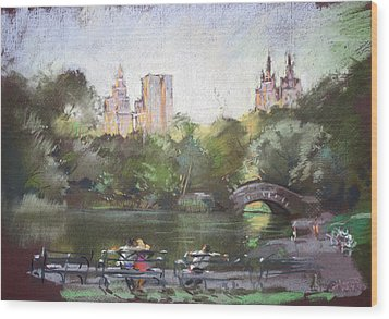 Nyc Resting In Central Park Wood Print by Ylli Haruni