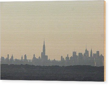 Nyc Skyline At Sunset Wood Print