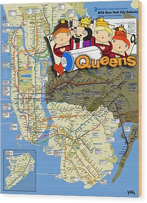 Nyc Subway Map Queens Wood Print by Turtle Caps