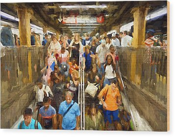 Nyc Subway Wood Print by Matthew Ashton
