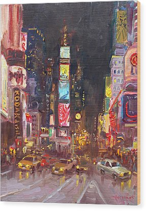 Nyc Times Square Wood Print by Ylli Haruni
