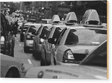 Nyc Traffic Bw16 Wood Print