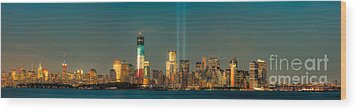 Nyc Tribute In Light Skyline Panorama I Wood Print by Clarence Holmes