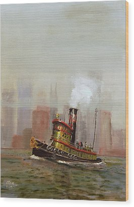 Nyc Tug Wood Print by Christopher Jenkins
