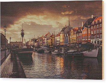 Nyhavn Sunset Copenhagen Wood Print by Carol Japp
