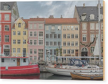 Wood Print featuring the photograph Nyhavn Waterfront In Copenhagen by Antony McAulay