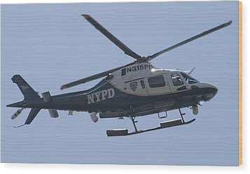Nypd Aviation Unit Wood Print by Christopher Kirby