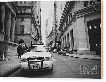 Nypd Police Patrol Car Parked In Wall Street Downtown New York City Wood Print by Joe Fox