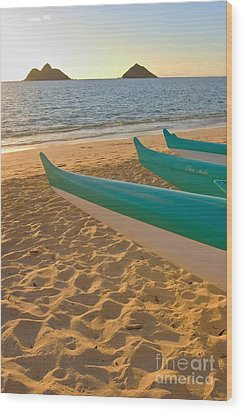 Oahu, Outrigger Canoes Wood Print by Tomas del Amo - Printscapes