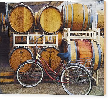 Oak Barrels And Bicycle Wood Print