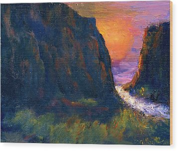 Wood Print featuring the painting Oak Creek Canyon by Gail Kirtz