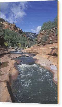 Oak Creek Flowing Through The Red Rocks Wood Print by Rich Reid