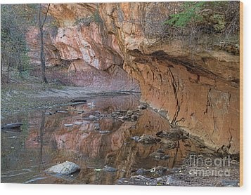 Wood Print featuring the photograph Oak Creek Reflections - Sedona, Az by Sandra Bronstein