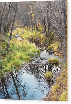 Oak Creek Twilight Wood Print by Carl Amoth