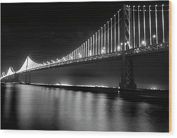 Wood Print featuring the photograph Oakland Bay Bridge At Night by Darcy Michaelchuk