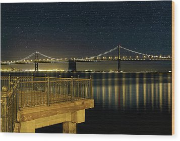 Oakland Bay Bridge By The Pier In San Francisco At Night Wood Print