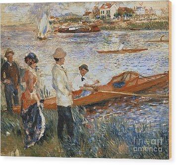 Oarsmen At Chatou Wood Print by Pierre Auguste Renoir