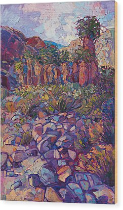 Wood Print featuring the painting Oasis Boulders by Erin Hanson