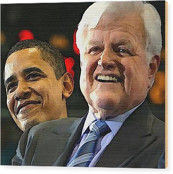 Obama And Kennedy Wood Print by Gabe Art Inc