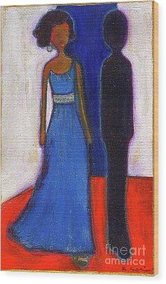 Obama Black And Blue Wood Print by Ricky Sencion