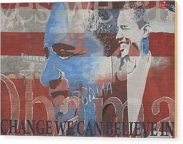 Obama Yes Wood Print by Xavier Carter