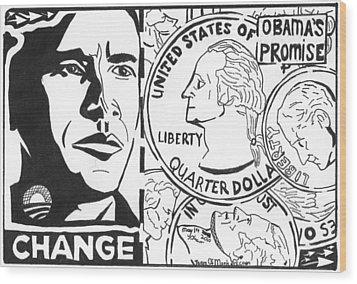 Obama's Promise Wood Print by Yonatan Frimer Maze Artist