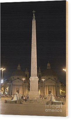 Obelisco Flaminio And Twin Churches By Night Wood Print by Fabrizio Ruggeri