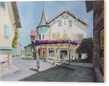 Oberammergau Street Wood Print by Sam Sidders