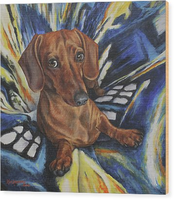 Dachshund Time Lord Wood Print