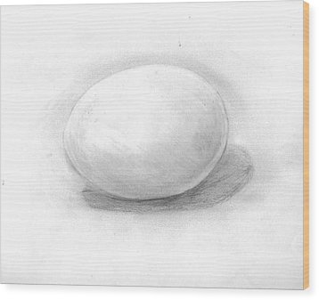 observation EGG ON WHITE Wood Print by Katie Alfonsi