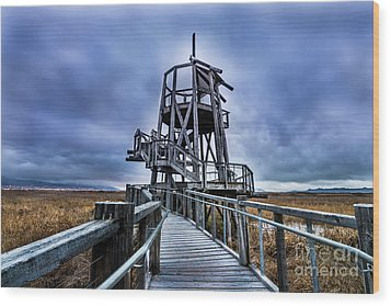 Wood Print featuring the photograph Observation Tower - Great Salt Lake Shorelands Preserve by Gary Whitton