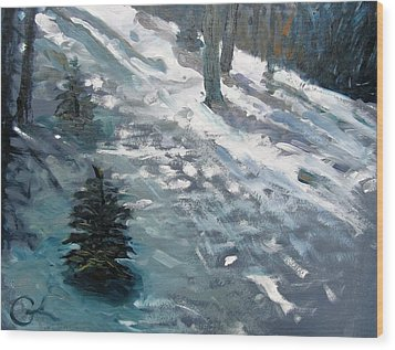 Wood Print featuring the painting Observing Snow by Gary Coleman