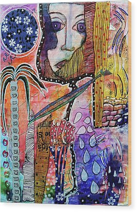 Wood Print featuring the mixed media Observing The World Through A Crack In The Universe by Mimulux patricia no No