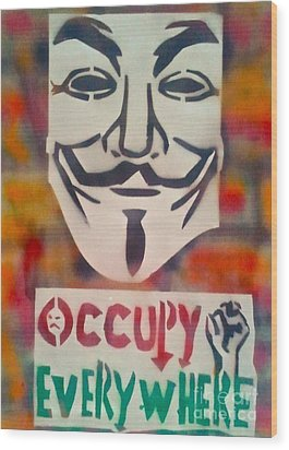 Occupy Mask Wood Print by Tony B Conscious