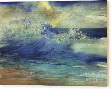 Wood Print featuring the painting Ocean by Allison Ashton