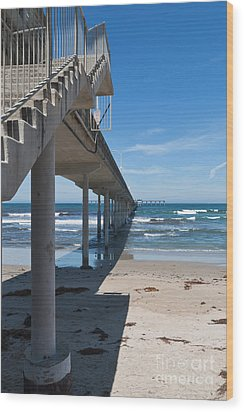 Ocean Beach Pier Stairs Wood Print