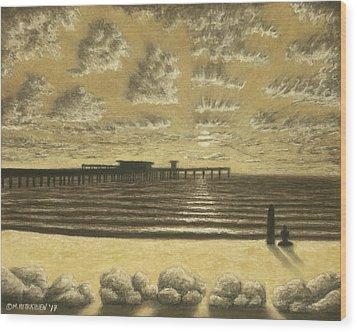 Ocean Beach Pier Sunset 01 Wood Print