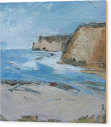 Wood Print featuring the painting Ocean Cliffs by Gary Coleman