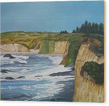 Ocean Cliffs Wood Print by Joan Taylor-Sullivant