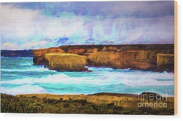 Wood Print featuring the photograph Ocean Cliffs by Perry Webster