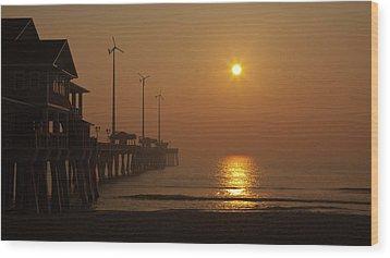 Ocean Dawn Wind Turbines Wood Print by Daniel Lowe