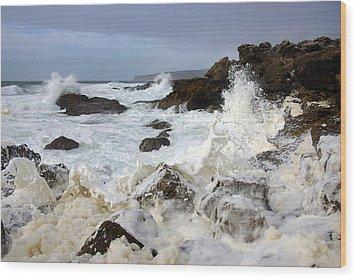 Ocean Foam Wood Print by Carlos Caetano